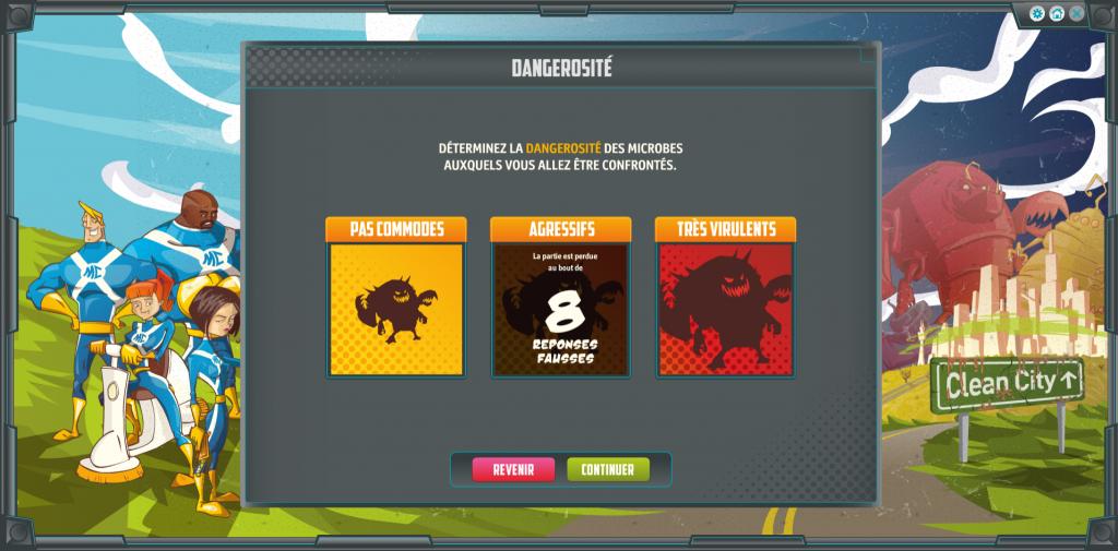 Microbs cleaners - serious game - mode de jeu - La Manane agence de com pédagogique crossmedia