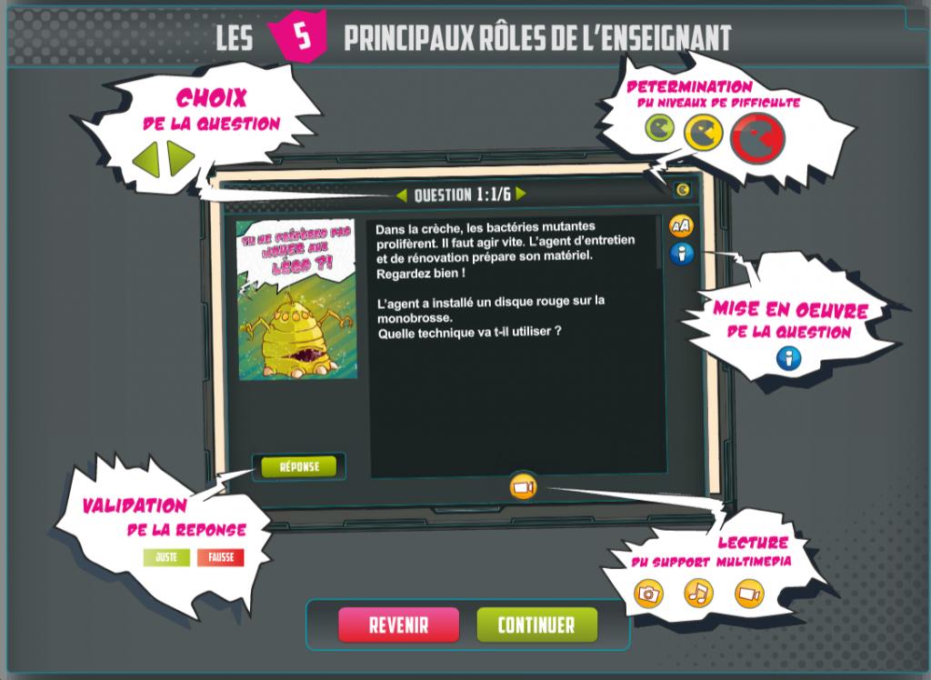 Microbs cleaners - serious game - question - La Manane agence de com pédagogique crossmedia