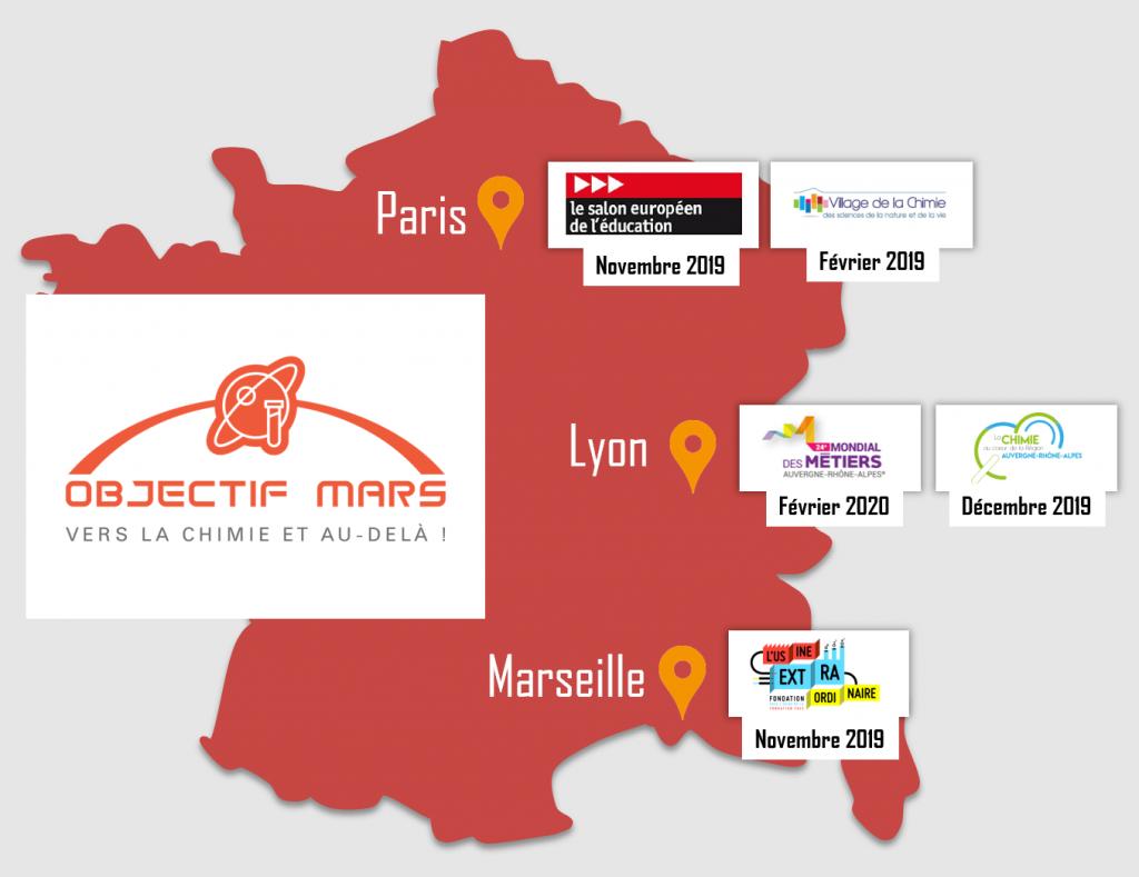 carte de france objectif mars - la manane agence de communication pédagogique crossmedia
