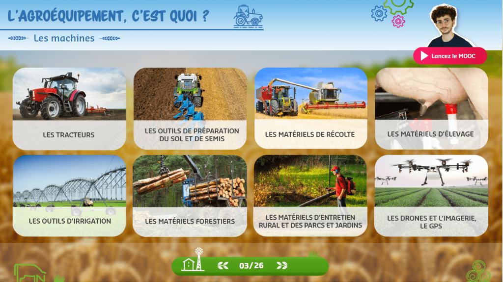 Agroéquipement - les machines - la manane agence de communication pédagogique crossmedia