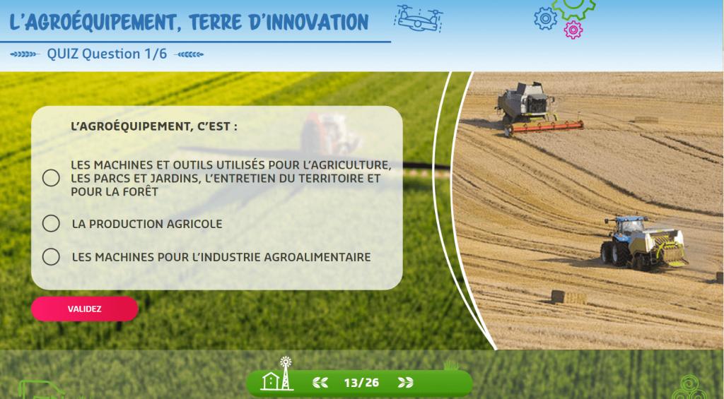 Agroéquipement - quiz- la manane agence de communication pédagogique crossmedia